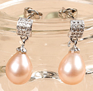 Classic Trendy Style Drop Shape Natural Pink Freshwater Pearl Earring Studs With Rhinestone Accessory