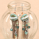 Fantastic Beautiful Long Style Jade-Like Crystal Alloyed Tassel Earrings