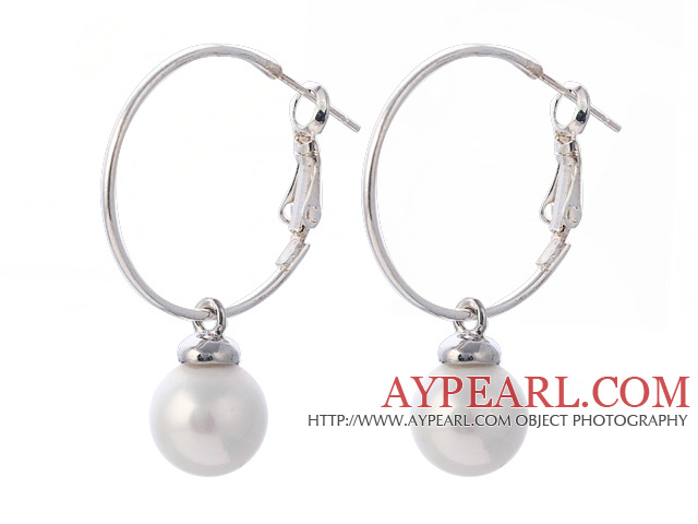 Fashion 10mm Round White Seashell Beads Dangle Earrings With Large Hoop Earwires