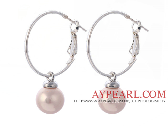 Fashion 10mm Round Pink Seashell Beads Dangle Earrings With Large Hoop Earwires