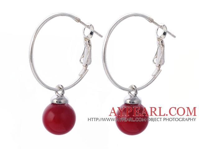 Fashion 10mm Round Red Seashell Beads Dangle Earrings With Large Hoop Earwires