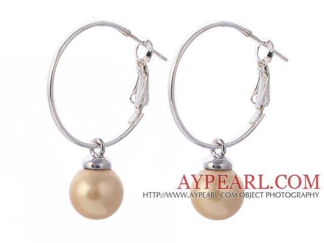 Fashion 10mm Round Yellow Seashell Beads Dangle Earrings With Large Hoop Earwires
