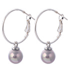 Fashion 10mm Round Gray Colorful Seashell Beads Dangle Earrings With Large Hoop Earwires