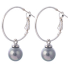Fashion 10mm Round Gray Seashell Beads Dangle Earrings With Large Hoop Earwires