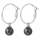 Nice 10mm Round Black Seashell Beads Dangle Earrings With Large Hoop Earwires