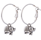 Lovely Elephant Pendant Charm Dangle Earrings With Large Hoop Earwires
