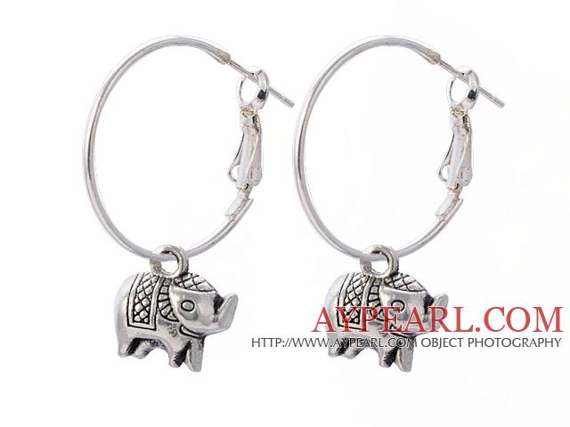 Lovely Elephant Pendant Charm Dangle Earrings With Large Hoop Earwires