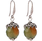 Fashion 12mm Round Faceted AB Color Agate Ball Flower Cap Charm Dangle Earrings