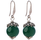 Classic 12mm Round Faceted Green Agate Ball Flower Cap Charm Dangle Earrings