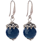 Classic 12mm Round Faceted Blue Agate Ball Flower Cap Charm Dangle Earrings