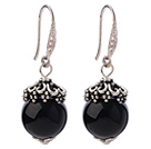 Classic 12mm Round Faceted Black Agate Ball Flower Cap Charm Dangle Earrings