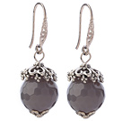 Classic 12mm Round Faceted Gray Agate Ball Flower Cap Charm Dangle Earrings