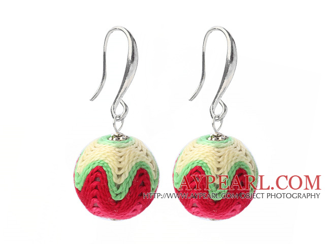 Fashion Simple Style Multi Color 16mm Wool Ball Dangle Earrings With Fish Hook