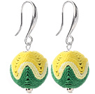 Fashion Simple Style 16mm Yellow And Green Wool Ball Dangle Earrings With Fish Hook