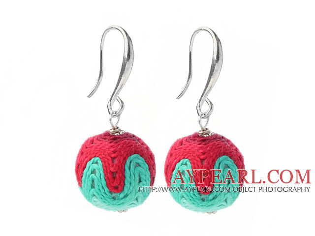 Fashion Simple Style 16mm Red And Green Wool Ball Dangle Earrings With Fish Hook