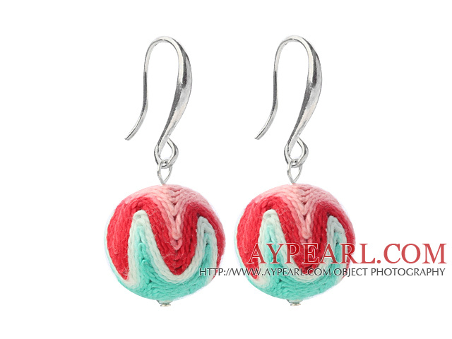 Nice Simple Style 16mm Multi Color Wool Ball Dangle Earrings With Fish Hook
