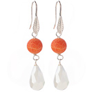 Lovely Round Organge Air-Slake Agate And White Faceted Drop Shape Opal Crystal Dangle Earrings