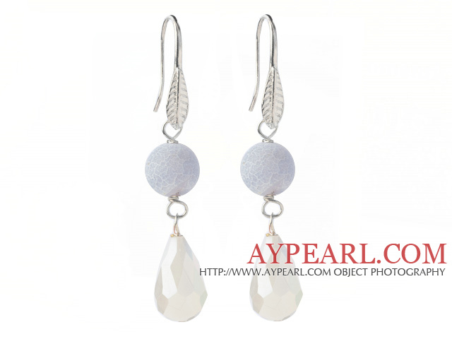 Lovely Round Air-Slake Agate And White Faceted Drop Shape Opal Crystal Dangle Earrings