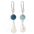 Wholesale Lovely Round Blue Air-Slake Agate And White Faceted Drop Shape Opal Crystal Dangle Earrings