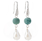 Lovely Round Green Air-Slake Agate And White Faceted Drop Shape Opal Crystal Dangle Earrings