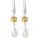 Wholesale Lovely Round Yellow Air-Slake Agate And White Faceted Drop Shape Opal Crystal Dangle Earrings
