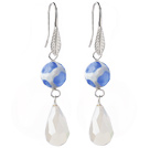 Wholesale Fashion Round Blue Air-Slake Agate And White Faceted Drop Shape Opal Crystal Dangle Earrings