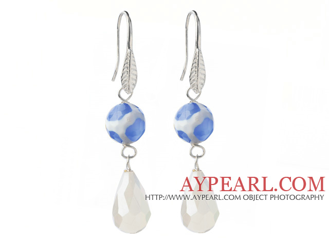 Fashion Round Blue Air-Slake Agate And White Faceted Drop Shape Opal Crystal Dangle Earrings
