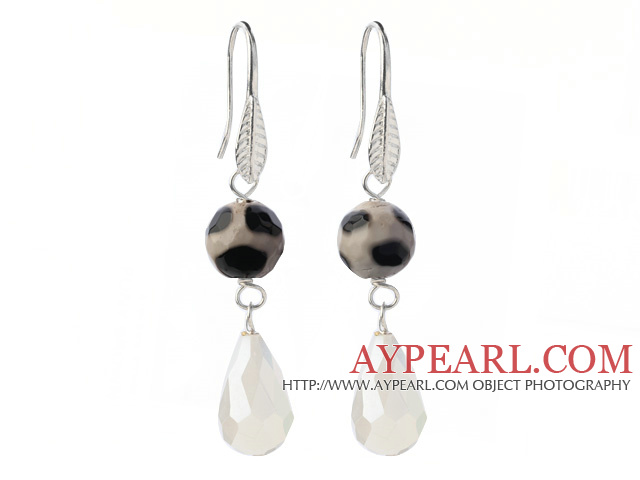 Fashion Round Black Air-Slake Agate And White Faceted Drop Shape Opal Crystal Dangle Earrings