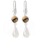 Wholesale Fashion Round Air-Slake Agate And White Faceted Drop Shape Opal Crystal Dangle Earrings