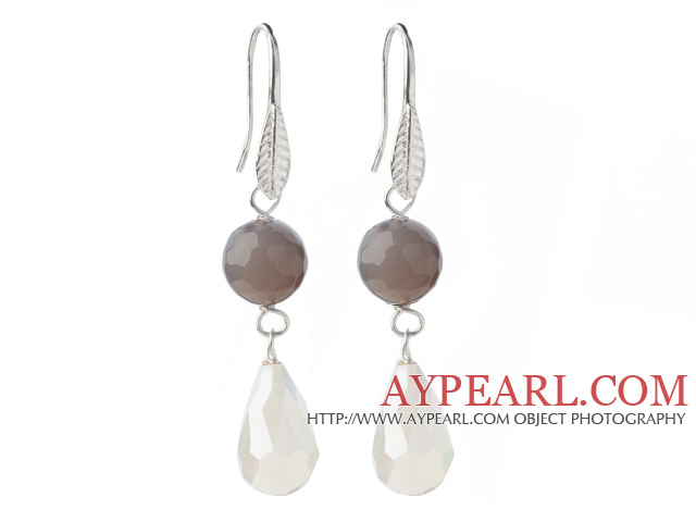 Fashion Faceted Round Gray Air-Slake Agate And White Faceted Drop Shape Opal Crystal Dangle Earrings