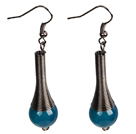 Vintage Style Simple Blue Agate Beads Dangle Earrings