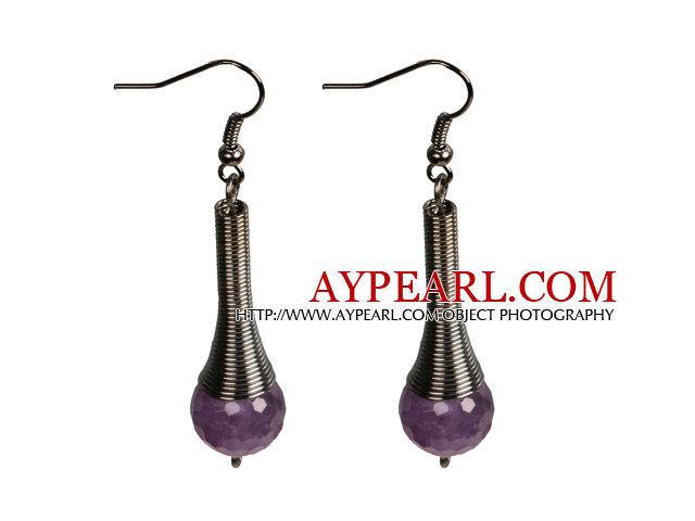 Vintage Style Simple Amethyst Beads Dangle Earrings