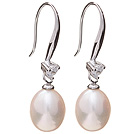 Nice Simple Style 8-9mm Natural White Freshwater Pearl Earrings With 925 Sterling Silver Rhinestone Fish Hook