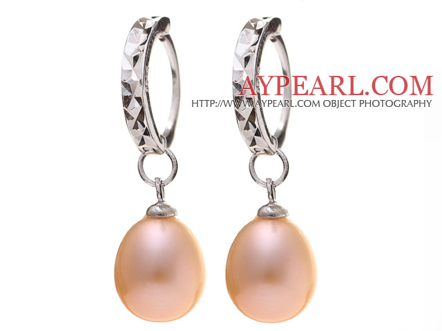 Nice Simple Style 8-9mm Natural Pink Freshwater Pearl Earrings With 925 Sterling Silver Ear Hoops