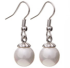 Lovely 10mm Round White Seashell Beads Drop Earrings With Fish Hook
