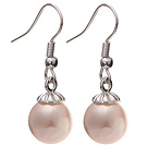Lovely 10mm Round Pink Seashell Beads Drop Earrings With Fish Hook