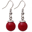 Lovely 10mm Round Red Seashell Beads Drop Earrings With Fish Hook
