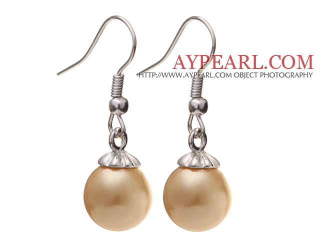 Lovely 10mm Round Champagne Color Seashell Beads Drop Earrings With Fish Hook