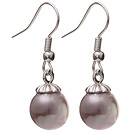 Lovely 10mm Round Light Purple Seashell Beads Drop Earrings With Fish Hook