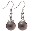 Lovely 10mm Round Dark Purple Seashell Beads Drop Earrings With Fish Hook
