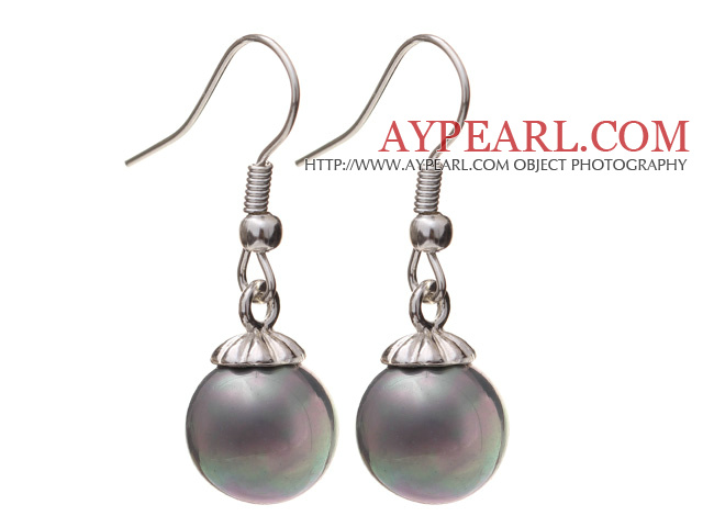 Lovely 10mm Round Gray Seashell Beads Drop Earrings With Fish Hook