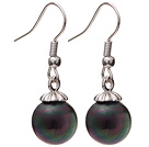 Lovely 10mm Round Black AB Color Seashell Beads Drop Earrings With Fish Hook