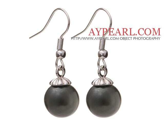 Lovely 10mm Round Black Seashell Beads Drop Earrings With Fish Hook