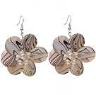 Nice Round Disc Shape White Banded Shell And White Freshwater Pearl Flower Earrings
