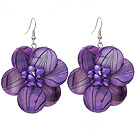 Nice Round Disc Shape Purple Banded Shell And Purple Freshwater Pearl Flower Earrings