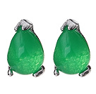 Lovely 8mm Tear Drop Shape Inlaid Green Malaysian Jade Studs Earrings