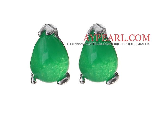 Lovely 8mm Tear Drop Shape Inlaid Green Malaysian Jade Studs Earrings