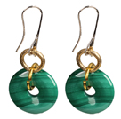 Beautiful Ethnic Style Donut Shape Natural Green Peacock Stone Earrings with Golden Loop Charm