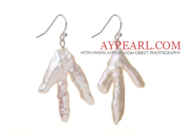 Fashion Natural White Blister Freshwater Pearl Drop Earrings With Fish Hook