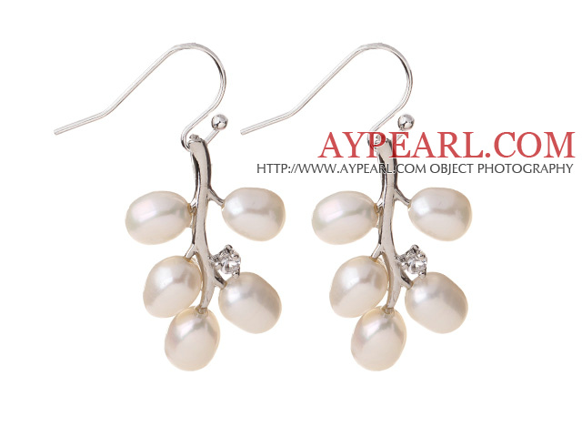 Fashion 5-6mm Natural White Freshwater Pearl Branch Drop Earrings With Fish Hook